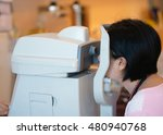tonometer and patient at eye...   Shutterstock . vector #480940768