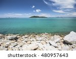beautiful tropical beach sea... | Shutterstock . vector #480957643