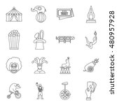 circus entertainment icons set... | Shutterstock .eps vector #480957928