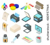 printing icons set in cartoon... | Shutterstock .eps vector #480957964