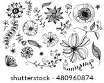vector doodles flowers and... | Shutterstock .eps vector #480960874