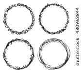 set of hand drawn scribble... | Shutterstock . vector #480963844