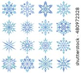 set of 16 cute snowflakes | Shutterstock .eps vector #480972328