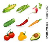 set of object with vegetables | Shutterstock .eps vector #48097357