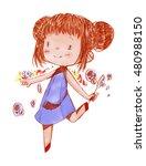 girl drawing watercolor. | Shutterstock . vector #480988150