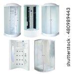 set of new shower cabins ... | Shutterstock . vector #480989443