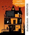 castle house halloween... | Shutterstock .eps vector #480989458