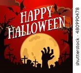 halloween poster with zombie... | Shutterstock .eps vector #480990478