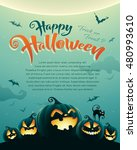 spooky halloween night with... | Shutterstock .eps vector #480993610