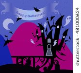 blue and pink halloween castle... | Shutterstock .eps vector #481000624