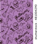 seamless pattern for halloween. ... | Shutterstock .eps vector #481004290