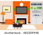 interior living room with a... | Shutterstock .eps vector #481009948