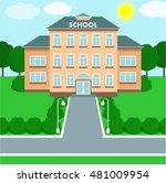 school building over landscape... | Shutterstock .eps vector #481009954