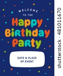 invitation on birthday party.... | Shutterstock .eps vector #481011670