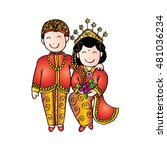 bridal couple java. cartoon...   Shutterstock .eps vector #481036234