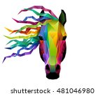 horse head in geometric or low... | Shutterstock .eps vector #481046980