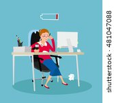 tired woman | Shutterstock .eps vector #481047088