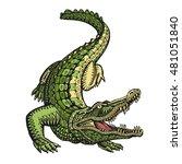 ethnic ornamented alligator or... | Shutterstock .eps vector #481051840