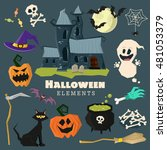 happy halloween scary elements... | Shutterstock .eps vector #481053379