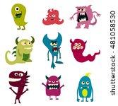 doodle monsters set. colorful... | Shutterstock . vector #481058530