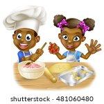 cartoon black boy and girl...   Shutterstock .eps vector #481060480