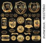 anniversary golden retro...   Shutterstock .eps vector #481070863
