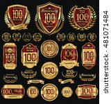 anniversary golden shields... | Shutterstock .eps vector #481071484