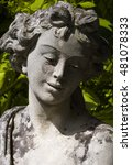 Small photo of Ancient statue and face of Demeter, goddess of harvest, agriculture, nature and seasons in greek religion and mythology. Sculpture of one of the Twelve Olympians, major deities of Greek pantheon.