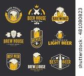 set of vector color beer logo ... | Shutterstock .eps vector #481080823
