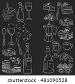 vector doodle set for italian... | Shutterstock .eps vector #481090528