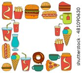 hand drawn vector doodle icons... | Shutterstock .eps vector #481090630