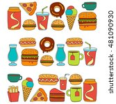 hand drawn vector doodle icons... | Shutterstock .eps vector #481090930