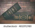 old history book close up | Shutterstock . vector #481091980