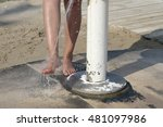 foreground woman feet taking a... | Shutterstock . vector #481097986