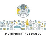 Stock vector cute cartoon doodle pet shop icons and bottom seamless border logo dog cat mouse rabbit cage 481103590