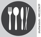fork spoon knife and chopsticks ... | Shutterstock .eps vector #481123639