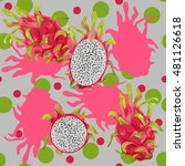 repeating pattern dragon fruit. ...   Shutterstock .eps vector #481126618