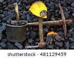 mining tools on a background of ... | Shutterstock . vector #481129459