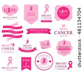 set of breast cancer label and... | Shutterstock .eps vector #481154704