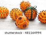 clove orange pomander balls ...   Shutterstock . vector #481164994