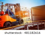 forklift is putting cargo from... | Shutterstock . vector #481182616