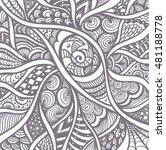witch in hat in zen doodle or ...   Shutterstock .eps vector #481188778