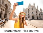 young female tourist making... | Shutterstock . vector #481189798
