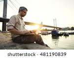 man working on computer in... | Shutterstock . vector #481190839