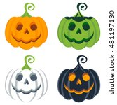 vector set of halloween colored ... | Shutterstock .eps vector #481197130