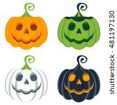 vector set of halloween colored ... | Shutterstock .eps vector #481197130