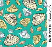 seamless pattern with shells....   Shutterstock .eps vector #481199470