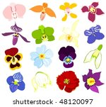 set of flower icons | Shutterstock .eps vector #48120097