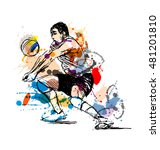 colored hand sketch volleyball... | Shutterstock .eps vector #481201810
