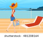 walking on a cruise ship deck   ... | Shutterstock .eps vector #481208164